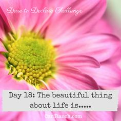 Dare to Declare 30 day Challenge Day 18: The beautiful thing about life is.... It's a 30 day challenge to declare what we love & enjoy about ourselves, our lives and the world. Complete the phrase in the comments below - so we can celebrate together.