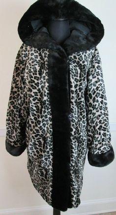 Fine Element Leopard Faux Fur Coat Reversible with Hood Animal Print Jacket #Sirens #BasicCoat