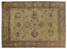 ASYA USHAK / TURKEY Item Number:24752 Width: 8 ft. 9 in. Length: 12 ft. 0 in. Field: ALL OVER PATTERN Field Color: BEIGE Border Color: GREE... (828)-687-1968 www.togarrugs.com