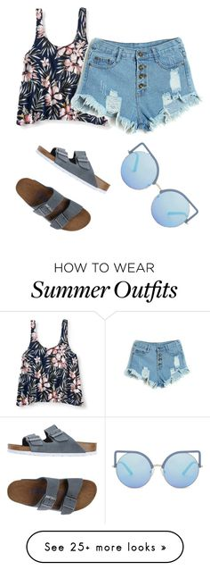 """Simple summer outfit"" by dessyaramadhanti on Polyvore featuring Aéropostale, Birkenstock, Matthew Williamson, 60secondstyle and PVShareYourStyle"