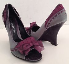 NEW! CASADEI Gray Purple Velvet Peep Toe High Heels Wedges Sandals Size 7. K
