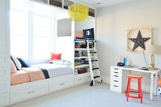 """Fun rolling ladder up to the """"crow's nest"""" (love the storage under the bed)"""