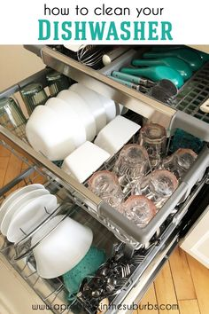 A simple tip for cleaning your dishwasher. Kitchen Chair Covers, Kitchen Chair Cushions, Cleaning Your Dishwasher, Deep Cleaning, Fridge Organization, Organization Hacks, Organizing, Cleaning Recipes, Cleaning Hacks