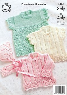 Cardigans, Bonnet and Angel Top in King Cole 3 Ply and 4 Ply (3366)   Baby Knitting Patterns   Knitting Patterns   Deramores (Lovely patterns and supplies, and they ship quickly.