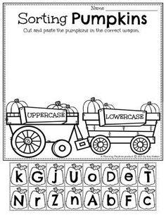 Upper and Lowercase Letter Pumpkin Sort. Pumpkin Worksheets Preschool