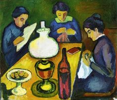 August Macke, Three Women at the Table by the Lamp, 1912