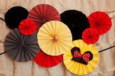 Minnie Mouse Birthday Pinwheel Cluster Yellow Polka Dot Red Birthday decorations