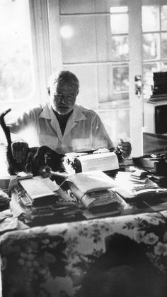 "Ryann Ernest Hemingway with typewriter and cat. ""There is nothing to writing. All you do is sit down at a typewriter and bleed"" - Ernest Hemingway. Ernest Hemingway, Hemingway Cats, Hemingway Quotes, Dorian Grey, Patricia Highsmith, Writers And Poets, Writers Write, Jack Kerouac, Cat People"