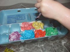 Shaving Cream bathtub paints! I did this last night with my little one - used washable finger paints instead of food coloring - washed right off, no staining! Super Fun!