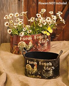Country Farmhouse Chic Set 2 Fresh Egg Hen Rooster Chicken Planter Bucket Tub