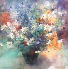 by Yuko Nagayama Art Floral, Watercolor Flowers, Watercolor Paintings, Watercolor Japan, Watercolors, Japanese Artists, Pictures To Paint, Watercolor Illustration, Flower Art