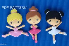 PDF sewing pattern to make a small ballerinas in felt 4 inches tall. It is not a finished doll. Includes tutorial with pictures and step by step
