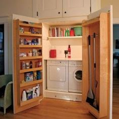 Hidden Laundry Room for small laundry. Laundry Room Storage, Laundry Cupboard, Door Storage, Utility Cupboard, Closet Storage, Cleaning Cupboard, Door Shelves, Storage Shelves, Storage Room