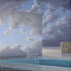 Hans Deuss, Doorgang, 2019 | Galerie Mokum Contemporary Artists, Pop Up, Swimming Pools, Mixed Media, Clouds, Paintings, Fine Art, Photos, Blue