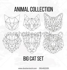 Set of geometric cat tiger lion puma head isolated on white background vintage vector design element illustration