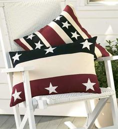 Americana Stars and Stripes Pillows - Plow & Hearth 4th Of July Party, July 4th, Home Of The Brave, Table Accessories, Patriotic Decorations, Red White Blue, Throw Pillows, Lumbar Pillow, Diy Pillows