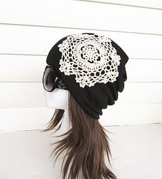 Women Oversized Beanie HatblackBaggy Hat Head Wrap by knitwit321, $19.75