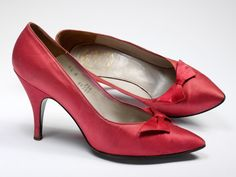 Late 1950's Red evening shoes Evening shoes Designed by Christian Dior (1905-57) Paris, France Silk satin