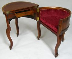 An ingenious Victorian Metamorphic Combination Table, Desk and Chair (shown open and closed above) was made of oak around the 1850s, after a design by Stephen Hedges. Other similar examples are housed in museums in New York and New Orleans.