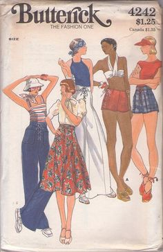 MOMSPatterns Vintage Sewing Patterns - Butterick 4242 Vintage 70's Sewing Pattern SUPER COOL Front or Side Corset Laced Wide Midriff or Hip Hugger Hot Pants Shorts, Big Bell Bottoms Sailor Pants, Skirt Waist 28