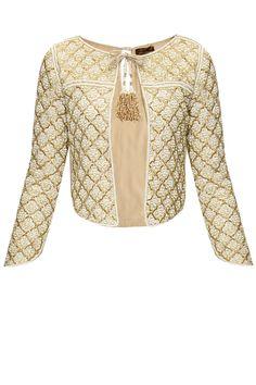 Ivory pearl jacket with front tassel tie-up by Zoraya. Shop now: http://www.perniaspopupshop.com/designers/zoraya-by-dipti-a-sawardekar #jacket #zoraya #shopnow #perniaspopupshop