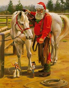 Horse Play - Santa with his horse Giclee. This Santa Claus print uses the giclee printing process (fade resistant archival inks and special printers) to allow our prints to look as close to Tom Browni Primitive Christmas, Western Christmas, Father Christmas, Country Christmas, Christmas Art, Vintage Christmas, Christmas Holidays, Primitive Fall, Christmas Paintings