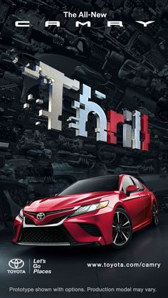 Find a new, comfortable mid-size car at a Toyota dealership near you, or build & price your own Camry online today. Ads Creative, Creative Posters, Creative Advertising, Advertising Design, Video Advertising, Advertising Poster, Advertising Campaign, Car Posters, Poster S