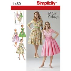 Misses' and Miss Petite vintage 1950s dress with wide lapel collar can be made in three-quarter sleeves, short sleeves or sleeveless. Dress can be worn casually with bow belt, or dress it up with cummerbund and overlay. Simplicity sewing pattern.