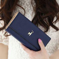 Generic Women's Girls' Flat Wallet Clutch Handbag Long Purse Credit Card Coin Bag Holder Organizer Deer Design Lady (#C Blue)