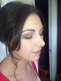 Golds & Browns with pink lips! Wedding make up.
