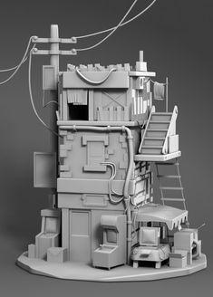 ArtStation - Postapo Building Model WIP, Ronique Ellis