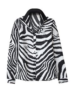 Zebra Silk Satin Shirt. Silk Print Shirts by Walter Voulaz, made in Italy. With shirt collar, long sleeves with button cuffs, high-low shirt tails, fly front placket.