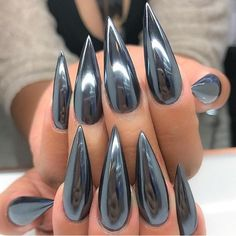 FIERCE CHROME look nail art design on stiletto shaped nails. Are you looking for short and long acrylic stiletto matte nail design for winter and spring? See our collection full of short and long acrylic stiletto matte nail design for winter and spring an Stiletto Shaped Nails, Stiletto Nail Art, Matte Nails, Acrylic Nails, Nail Nail, Nail Glue, Gradient Nails, Nail Polish, Stiletto Nail Designs