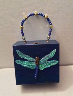 Dragonfly Cigar Box Purse One-of-a-Kind by PDQuteCreations on Etsy Cigar Box Art, Cigar Box Crafts, Cigar Box Purse, Cigar Boxes, Asking Bridesmaids, Bridesmaid Boxes, Wedding Boxes, Wedding Favors, Wooden Bag