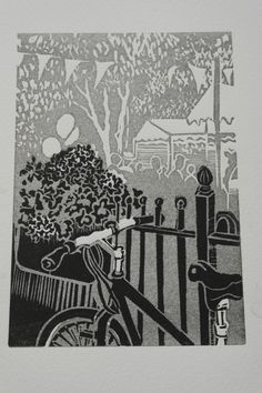 Moseley Farmers' Market. Sarah Moss. Linocut I love that the background is a lighter shade of grey, creating atmospheric perspective.