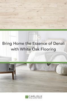 The uniqueness of this floor is most visible in the painstaking hand finish which features complex layers of a whitewash formulated specifically to brings out organic characteristics — such as knots and other appealing inclusions — in the wood. The final result is an impressive and understated white-on-white floor that will brighten and contrast perfectly with any decor. #whiteoak #oakflooring #whiteoakfloors Oak Flooring, Wide Plank Flooring, White Oak Floors, Whitewash, Knots, Contrast, Layers, Bring It On, Organic