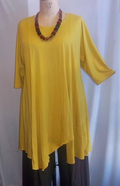 Coco and Juan Plus Size Asymmetric Tunic  Top Dijon Gold Rayon Knit Size 1 (fits 1X,2X)   Bust 52 inches. $36.00, via Etsy.