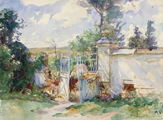 John Singer Sargent (1856 - 1925, USA)   The Gates of a Chateau, Ransart. 1918 watercolour on paper. 39.3 х 53.3 cm.