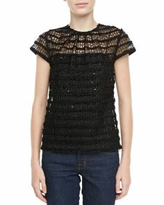 Lace Cap-Sleeve Top by Milly at Bergdorf Goodman.