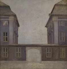 Vilhelm Hammershøi (1864-1916) was a Danish painter known for his low-key atmospheres and his very limited palette of grey tones and mostly desaturated hues used to depict architecture, landscapes and portraits.