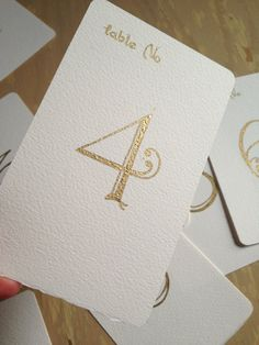 Wedding Table Numbers Handwritten Calligraphy Cards - Gold Metallic ink on Etsy, Calligraphy Cards, Wedding Calligraphy, Wedding Stationery, Wedding Invitations, Gold Calligraphy, Invites, Gold Table Numbers, Wedding Table Numbers, Our Wedding