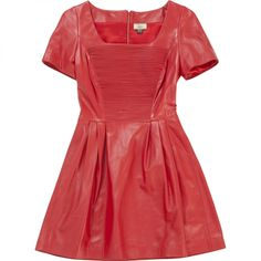 ISSA Red Leather Dress