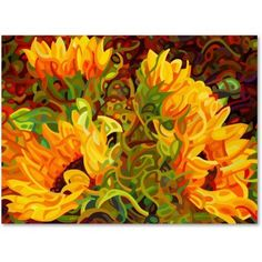 Trademark Fine Art Four Sunflowers Canvas Art by Mandy Budan, Size: 14 x 19, Multicolor