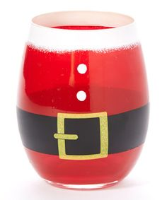 Look what I found on #zulily! Santa Belt Hand-Painted Stemless Wineglass #zulilyfinds