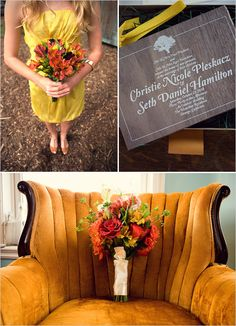 Orange wedding bouquet and chair