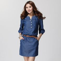 2017 Spring Summer Women Three Quarter Sleeve Plus Size Blue Denim Dress Maxi Size Casual Female Dresses L XL 2XL 3XL 4XL