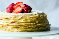 Strawberry Lemon Paleo Crepe Cake with Coconut Cream - A gluten/grain/dairy free dessert for Mother's day thats simple to make! Gluten Free Crepes, Gluten Free Desserts, Healthy Desserts, Lemon Recipes, Paleo Recipes, Paleo Dessert, Dessert Recipes, Breakfast Recipes, Coconut Flour Recipes