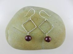 Pearl and Silver Earrings ~ Wire Wrapped ~ Burgundy Freshwater Pearl