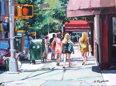 Village New York City Painting, Girls On Bleecker Street, NYC Art New Yorkers Colorful Figurative Urban Fine Art Print Gwen Meyerson Bleecker Street, Queens Nyc, City Painting, Orange Art, Nyc Art, New York Art, Greenwich Village, Subway Art, Fine Art Prints