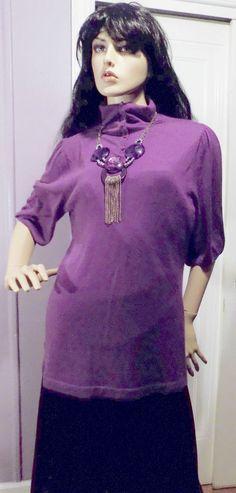 Vintage 1980s SEMANTIKS Purple 100% Cashmere Sweater XL #SEMANTIKS